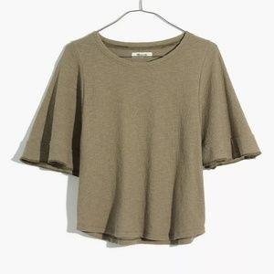 Madewell Texture & Thread Flutter Sleeve Top XL
